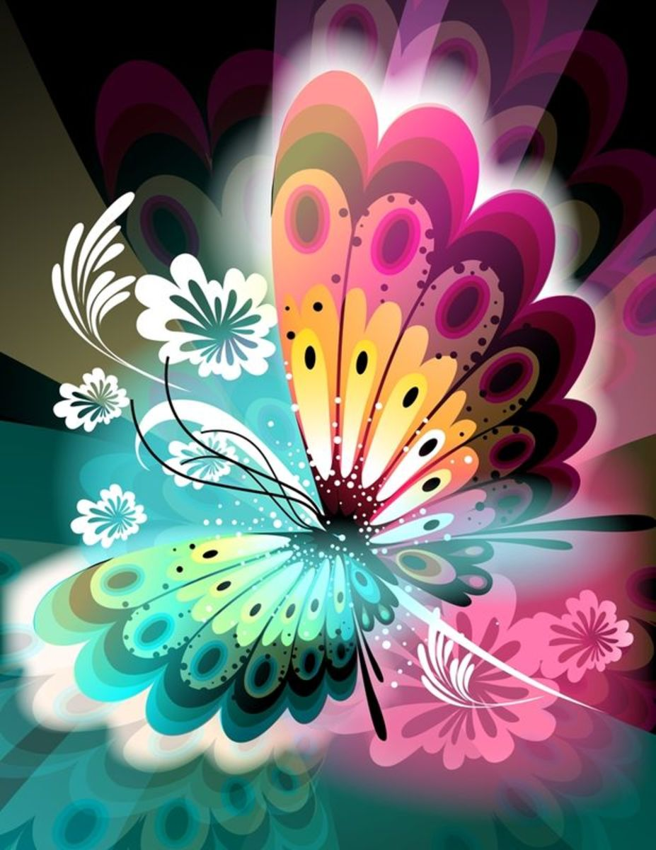 Abstract Butterfly with Flower Petal Wings