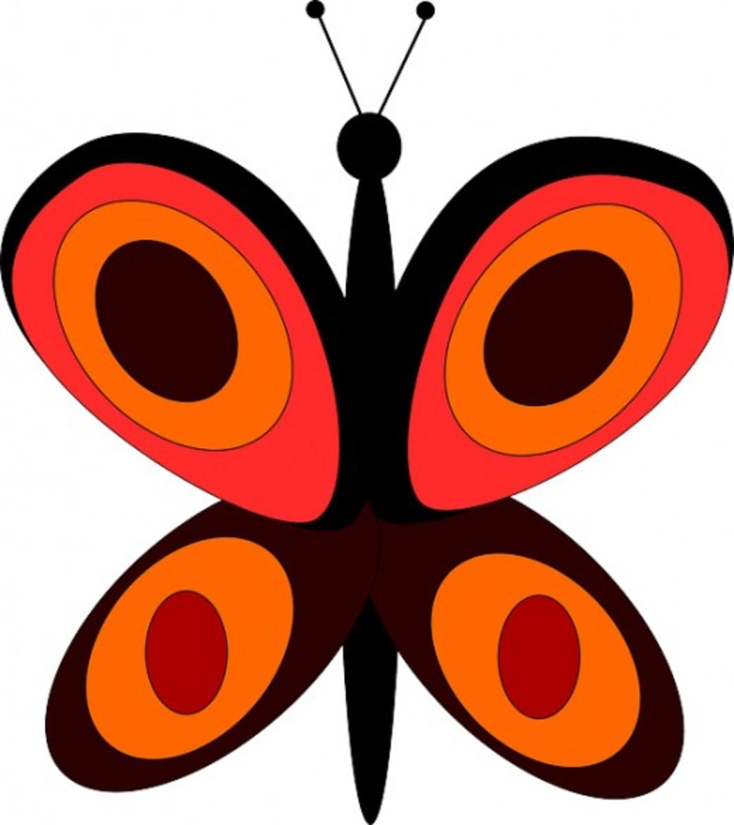 Big Orange Butterfly Clip
