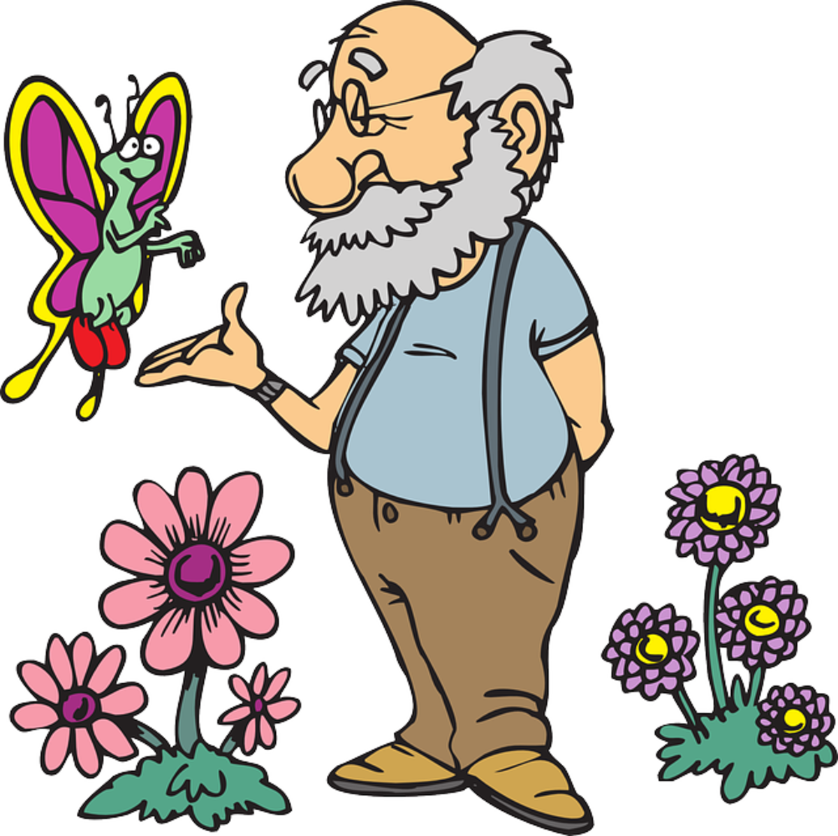 Man Making Friends with a Butterfly