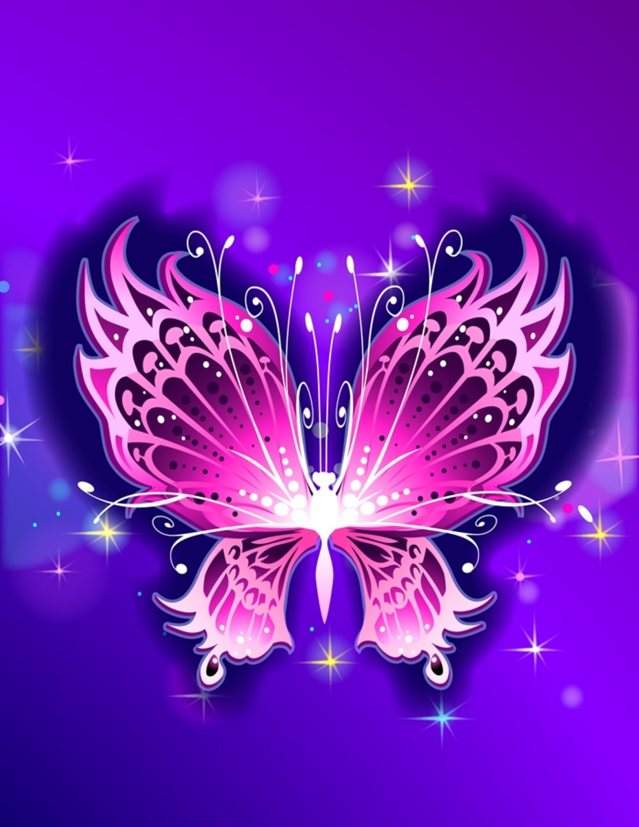 Pink Butterfly with Stars in Purple Sky
