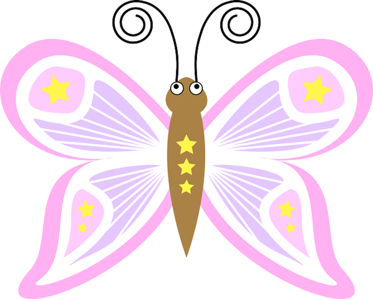 Clip Art of Pink Cartoon Butterfly