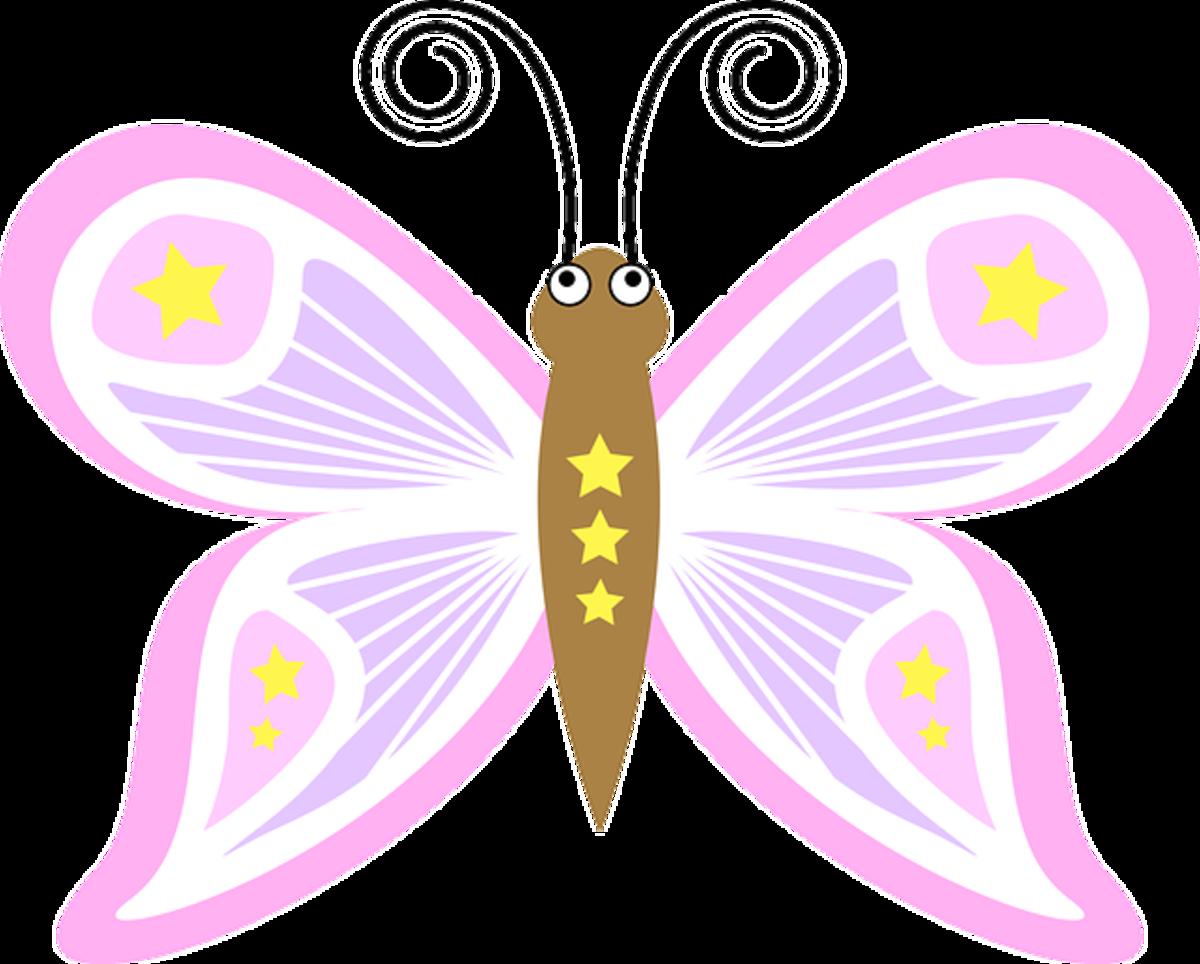 Clip Art of Pink Cartoon Butterfly