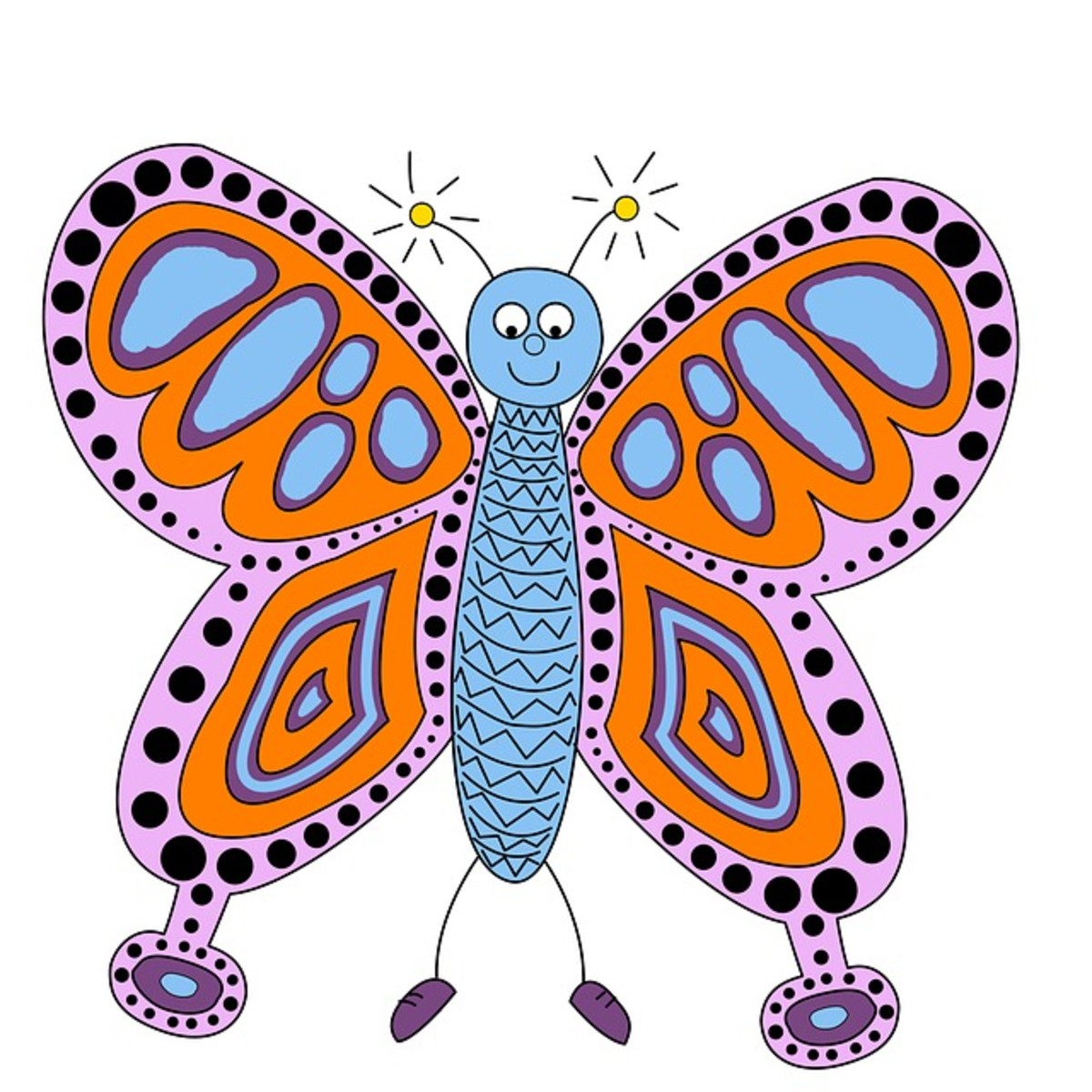 Cartoon Butterfly with Sparkler Antennae