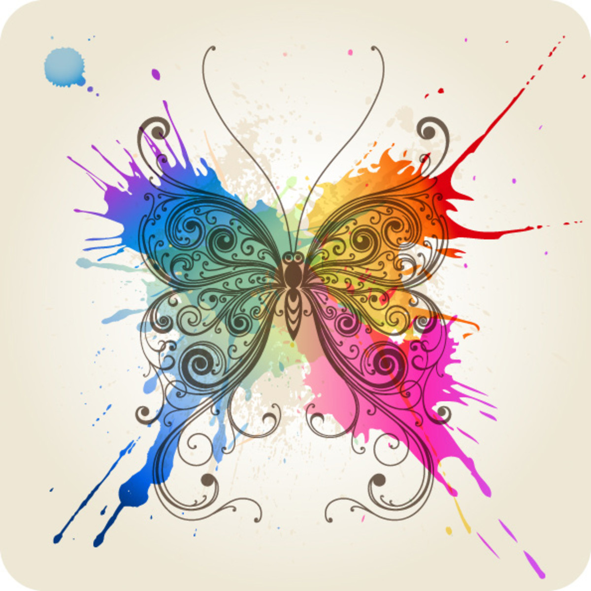 Butterfly with Splashes of Paint