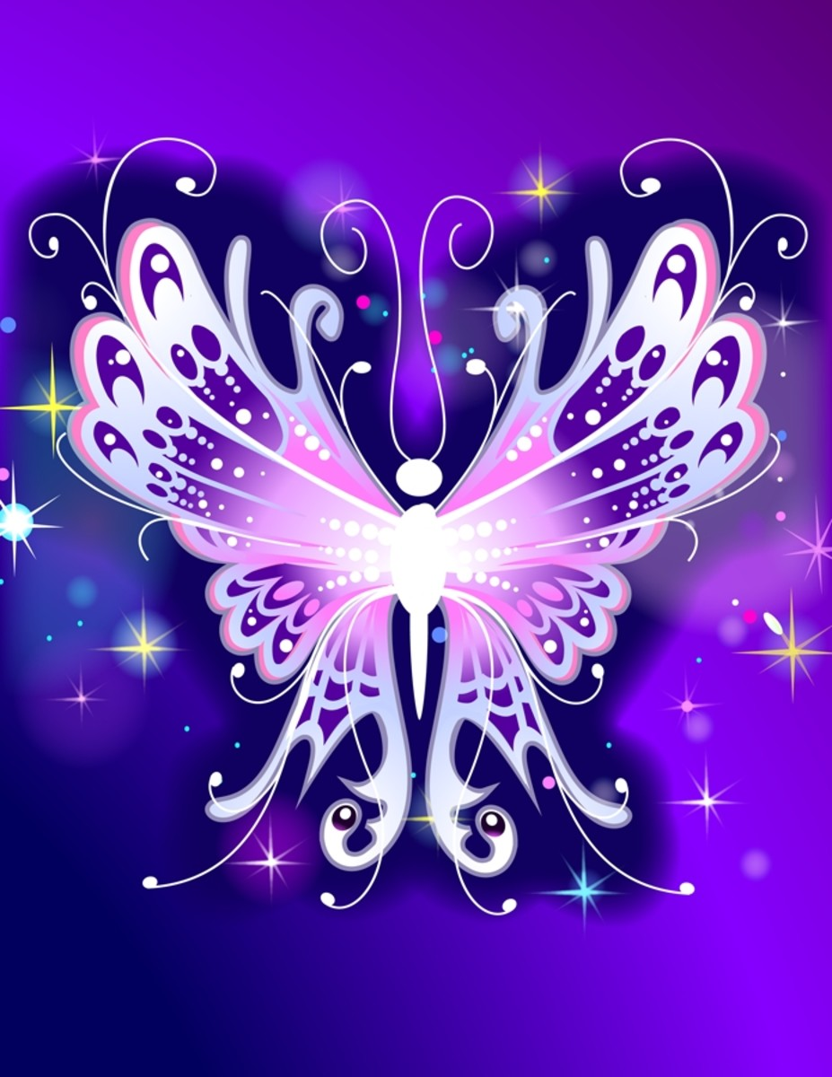 Purple and Pink Butterfly Abstract Art