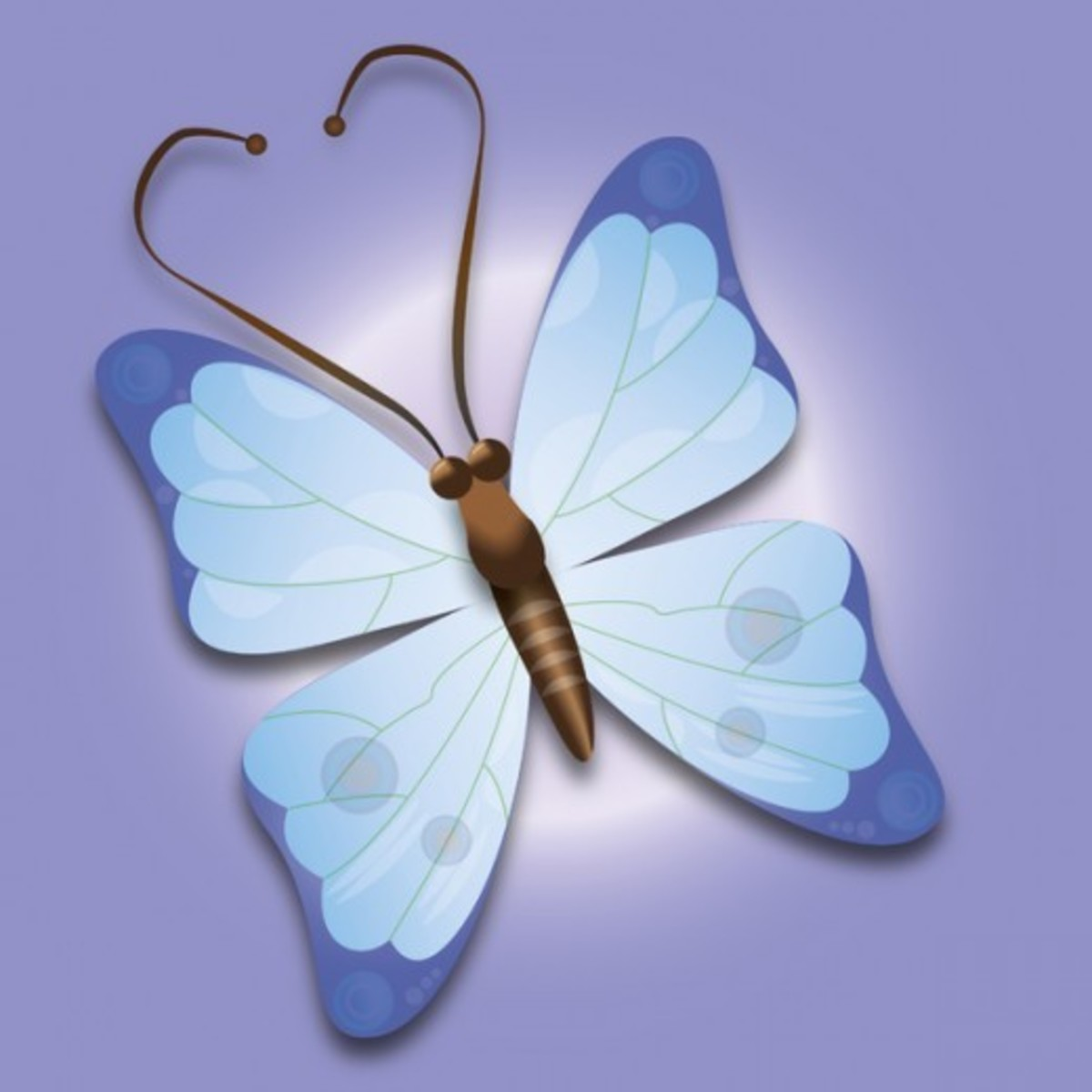 Blue Butterfly on Purple Background