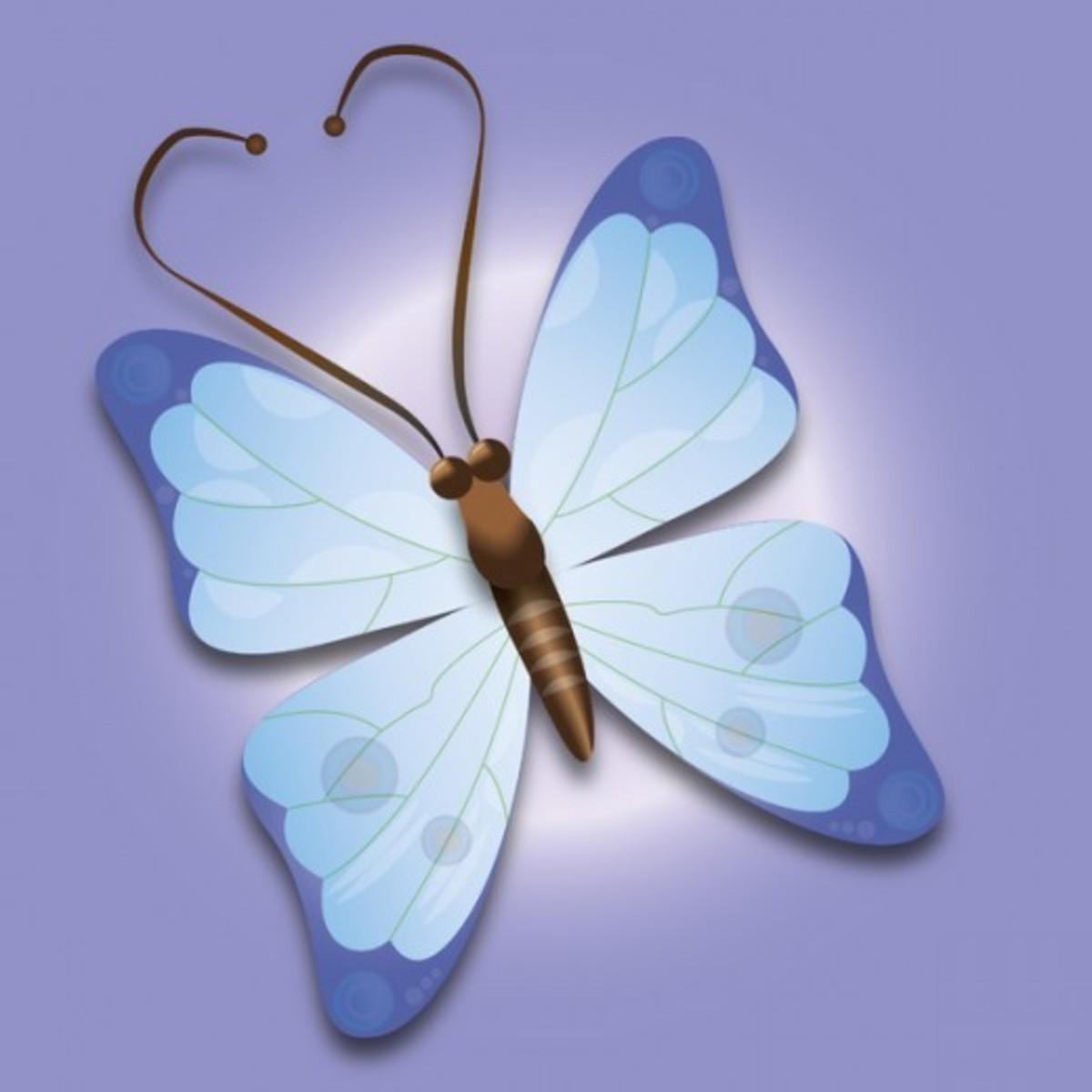 Blue Butterfly on Purple Background