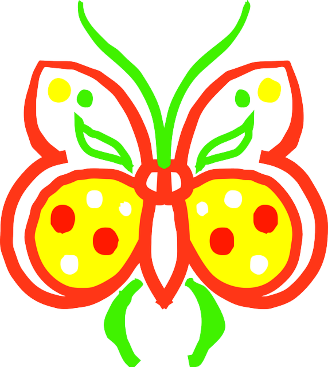 Red, Yellow and Green Cartoon Butterfly
