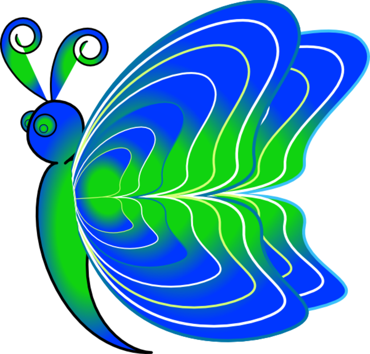 Blue and Green Cartoon Butterfly