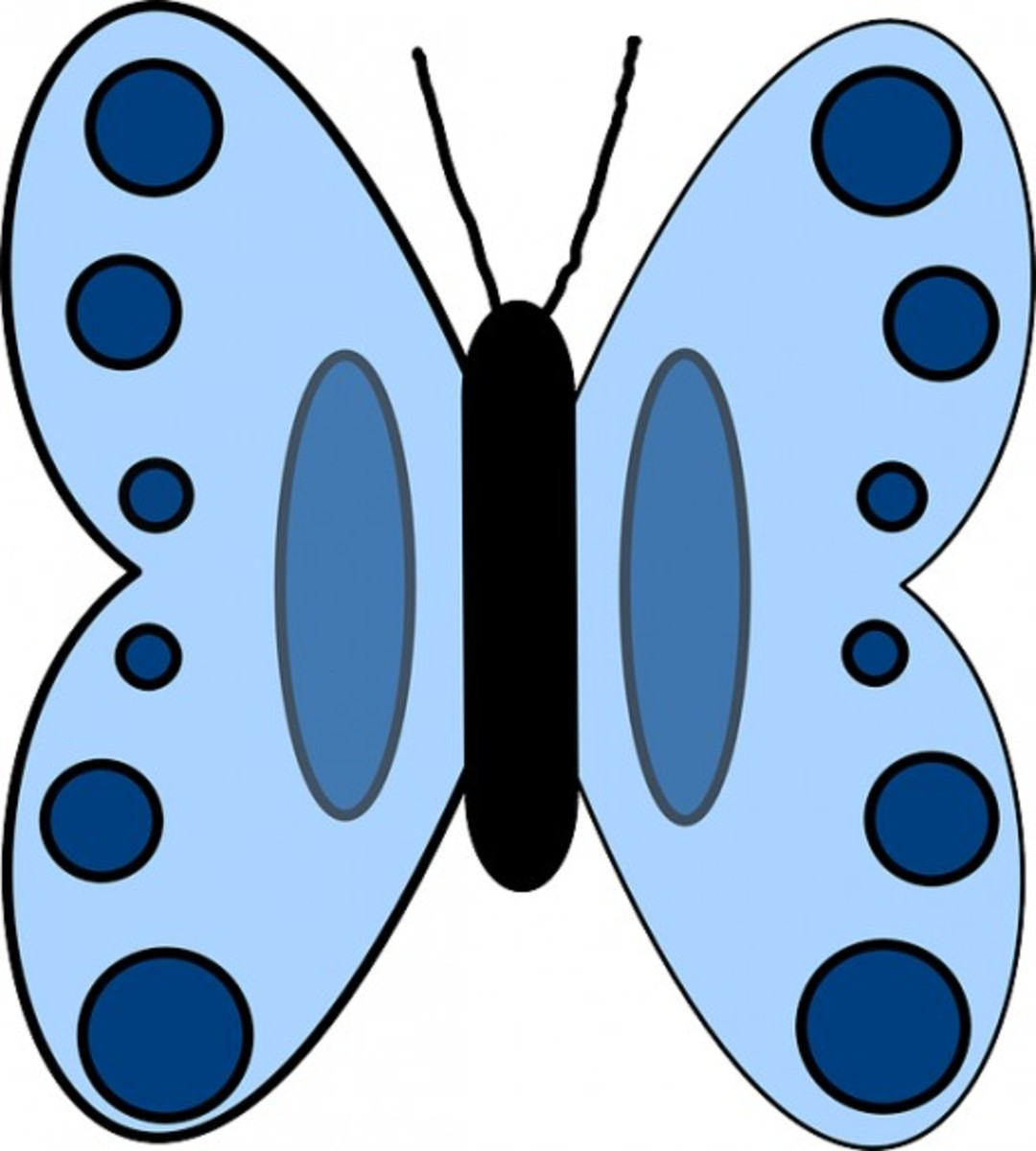 Big Blue Butterfly with Dots
