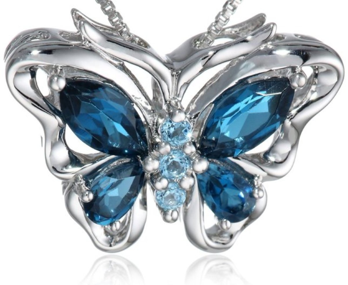 Blue Genuine Topaz and Sterling Silver Butterfly