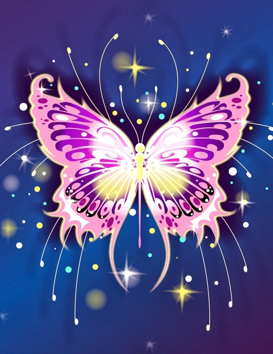 Pink Butterfly in Space