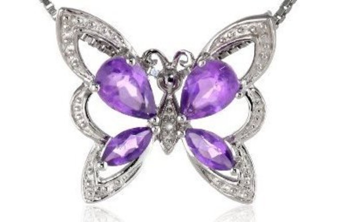 Diamonds and Genuine Amethyst in Sterling Silver Butterfly
