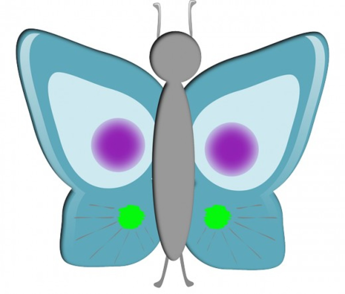 Teal Butterfly with Green and Purple Dots