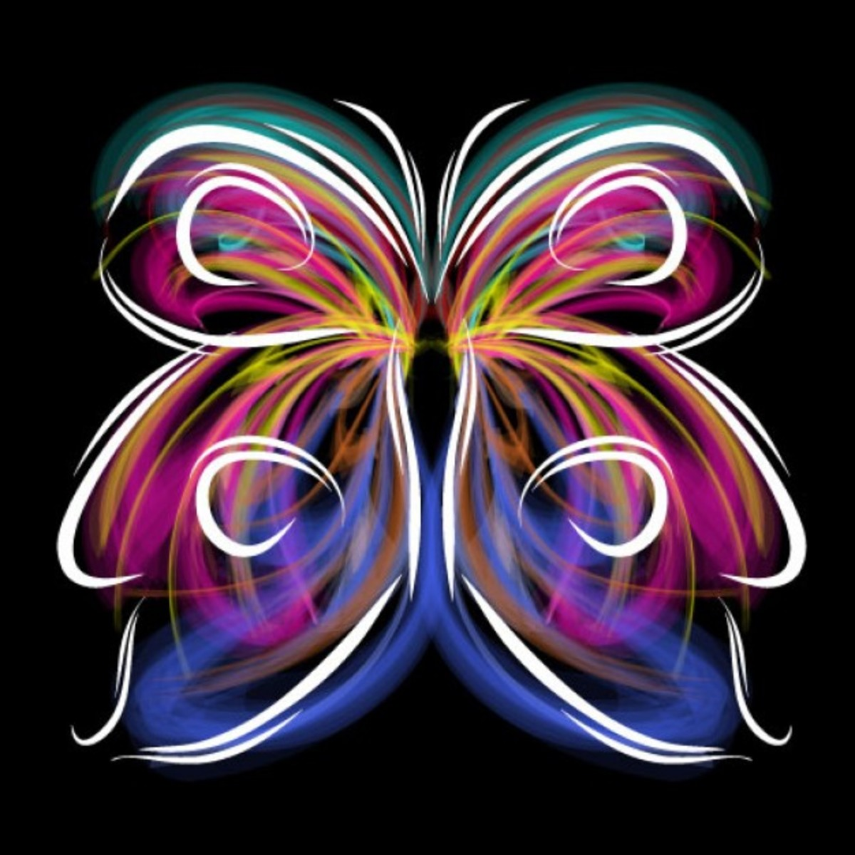 Colored Butterfly Line Drawing on Black Background