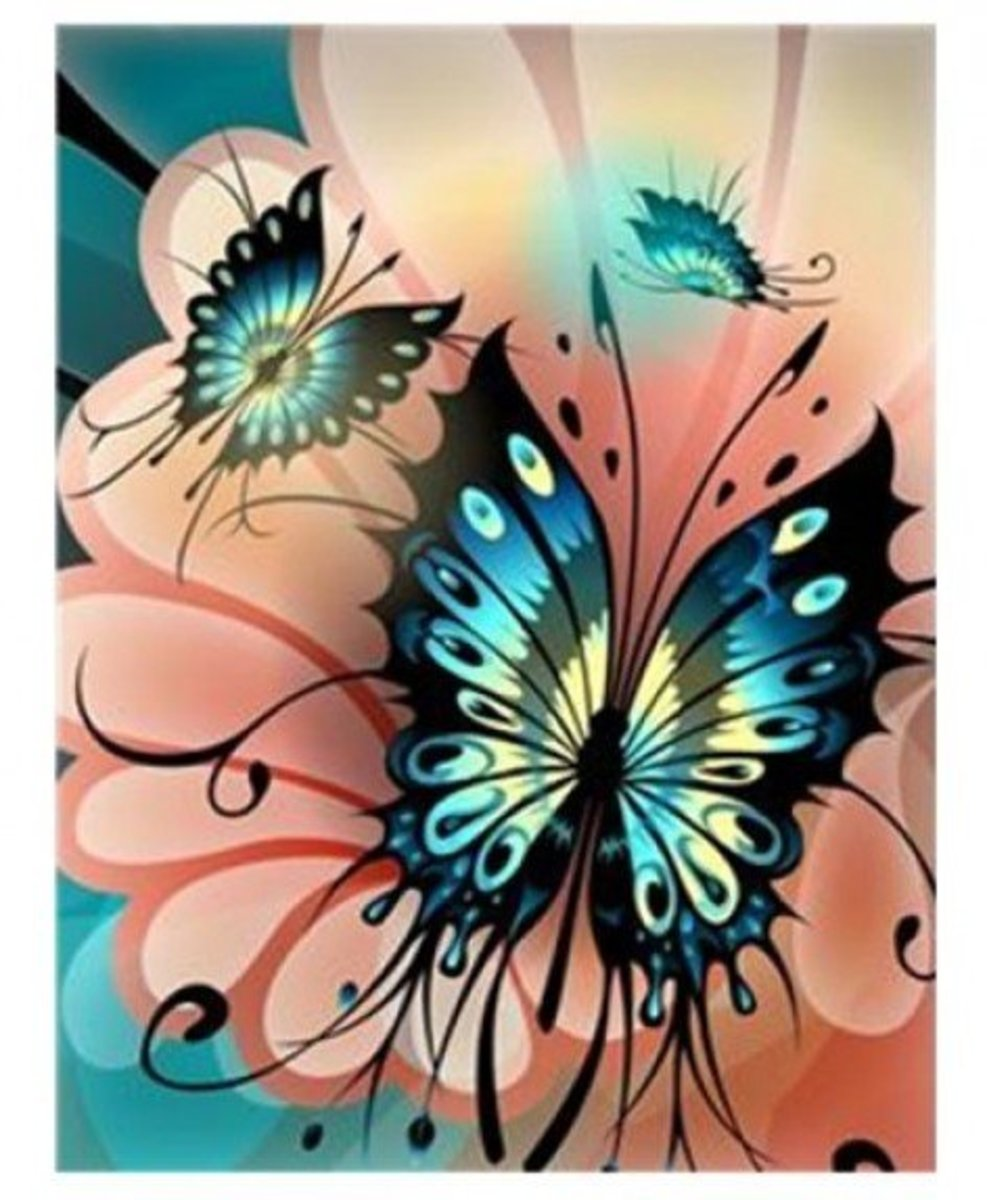 Clip Art of Abstract Butterflies on Flower