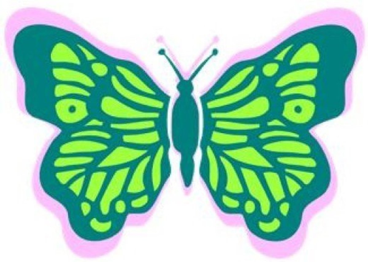 Green Butterfly with Pink Outline