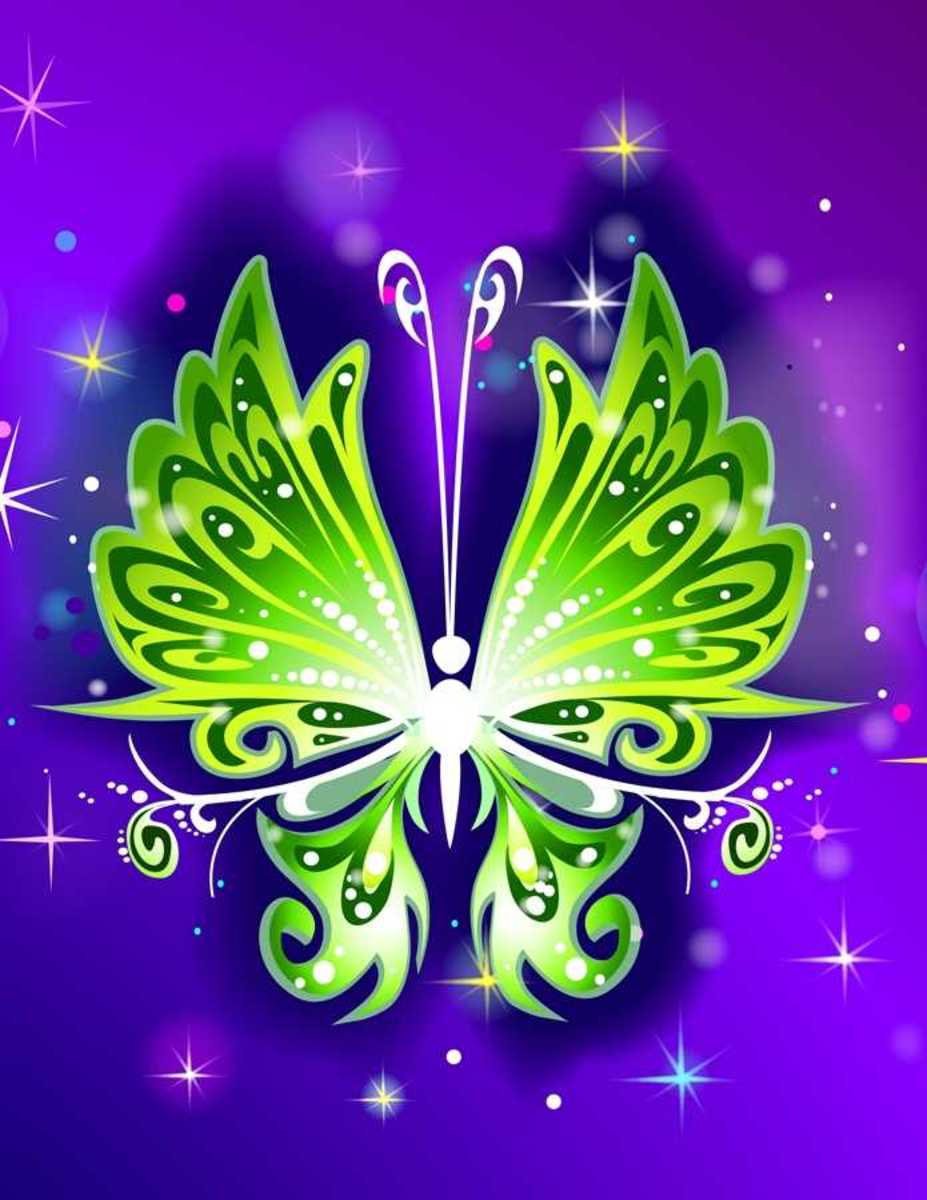 Green Butterfly with Stars