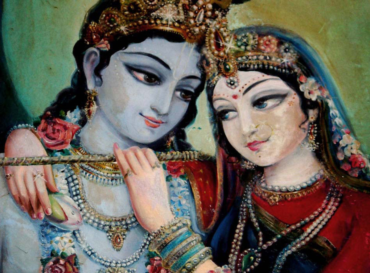Krishna and Radha enamored with one another