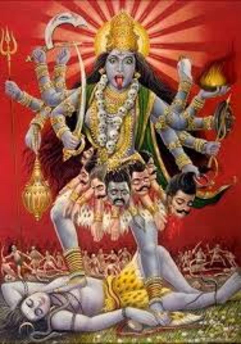 Kali with the iconographic weapons of other gods in her hands