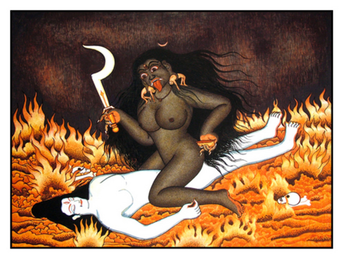 Kali copulating with Shiva her consort
