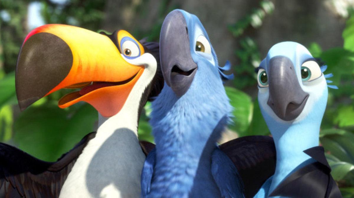 The birds, Luiz, Blu & Jewel in RIO the movie.