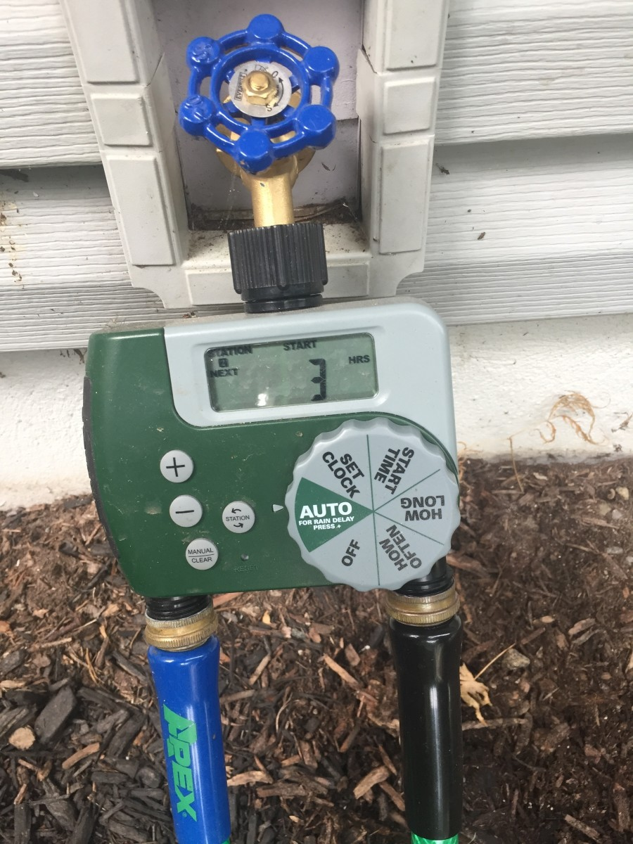 A programmable faucet timer like the one pictured above is a big time and hassle saver.  It can be programmed to time for any duration, repeating anywhere from every six hours to once per week,