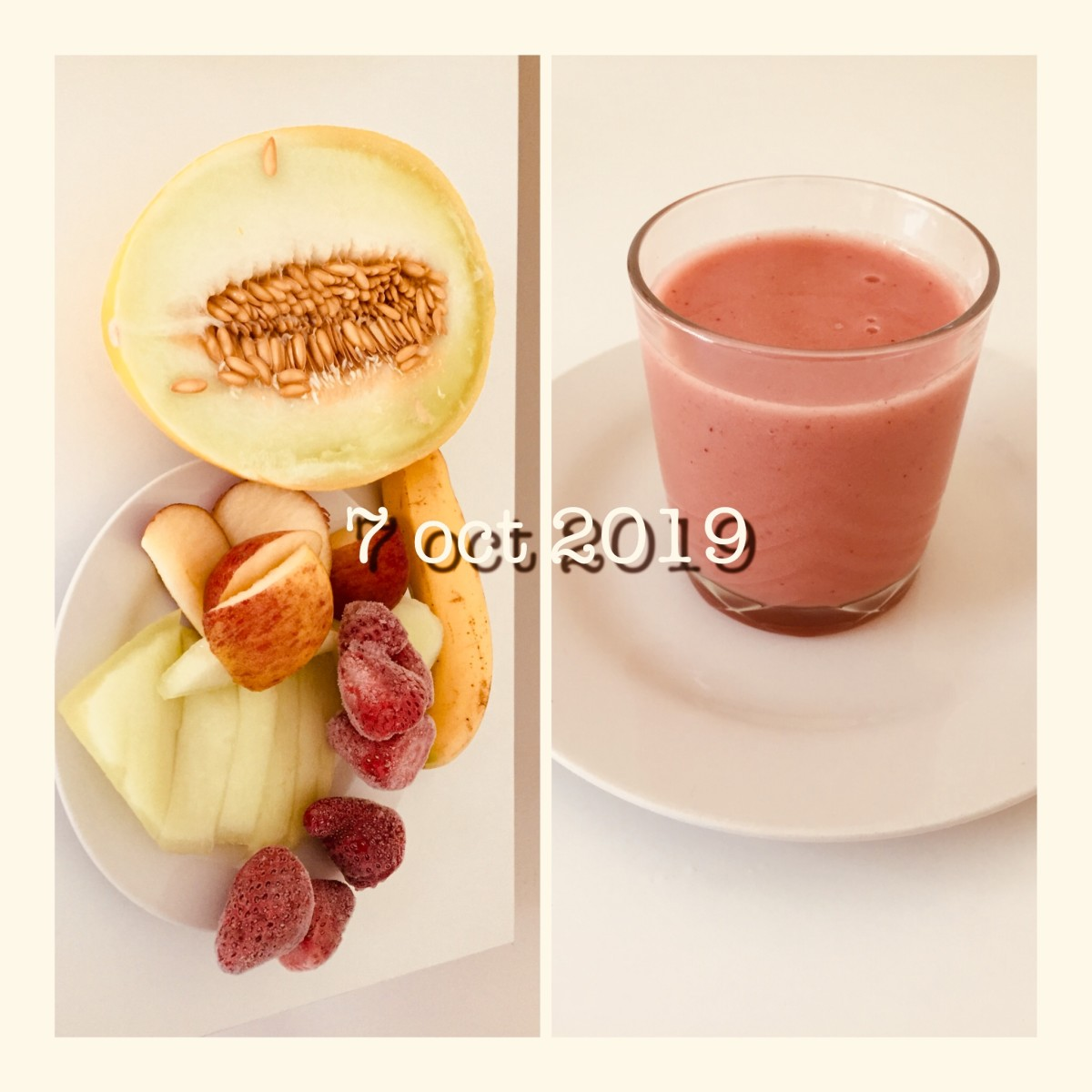 A quick blended juice using unpeeled apple, banana, piece of melon and some frozen strawberries. A delicious smooth and creamy drink.