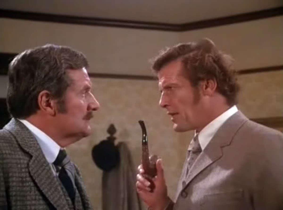 Patrick Macnee and Roger Moore in Sherlock Holmes in New York 1976