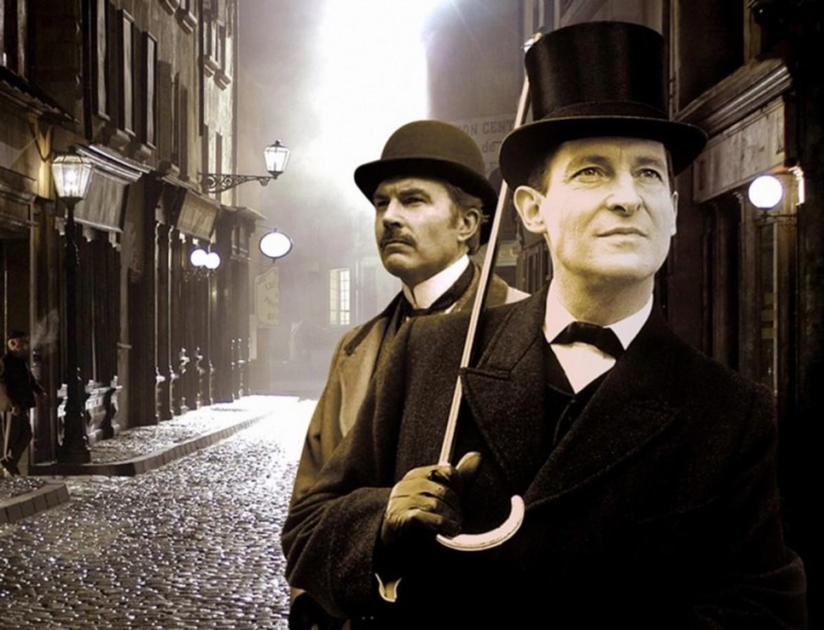 David Burke and Jeremy Brett in The Adventures of Sherlock Holmes