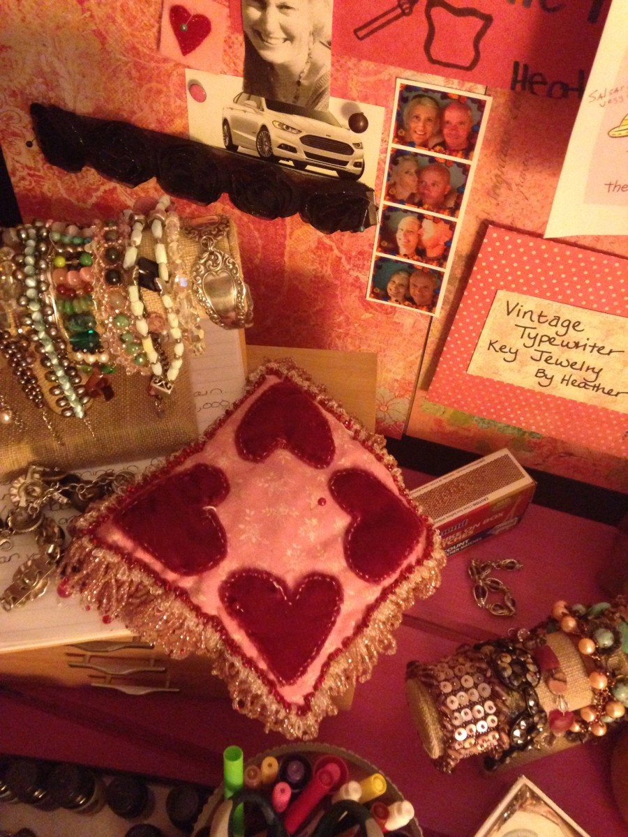 A great way to display your jewelry and keep it organized, is to use simple bracelet displays.  These are from Hobby Lobby.