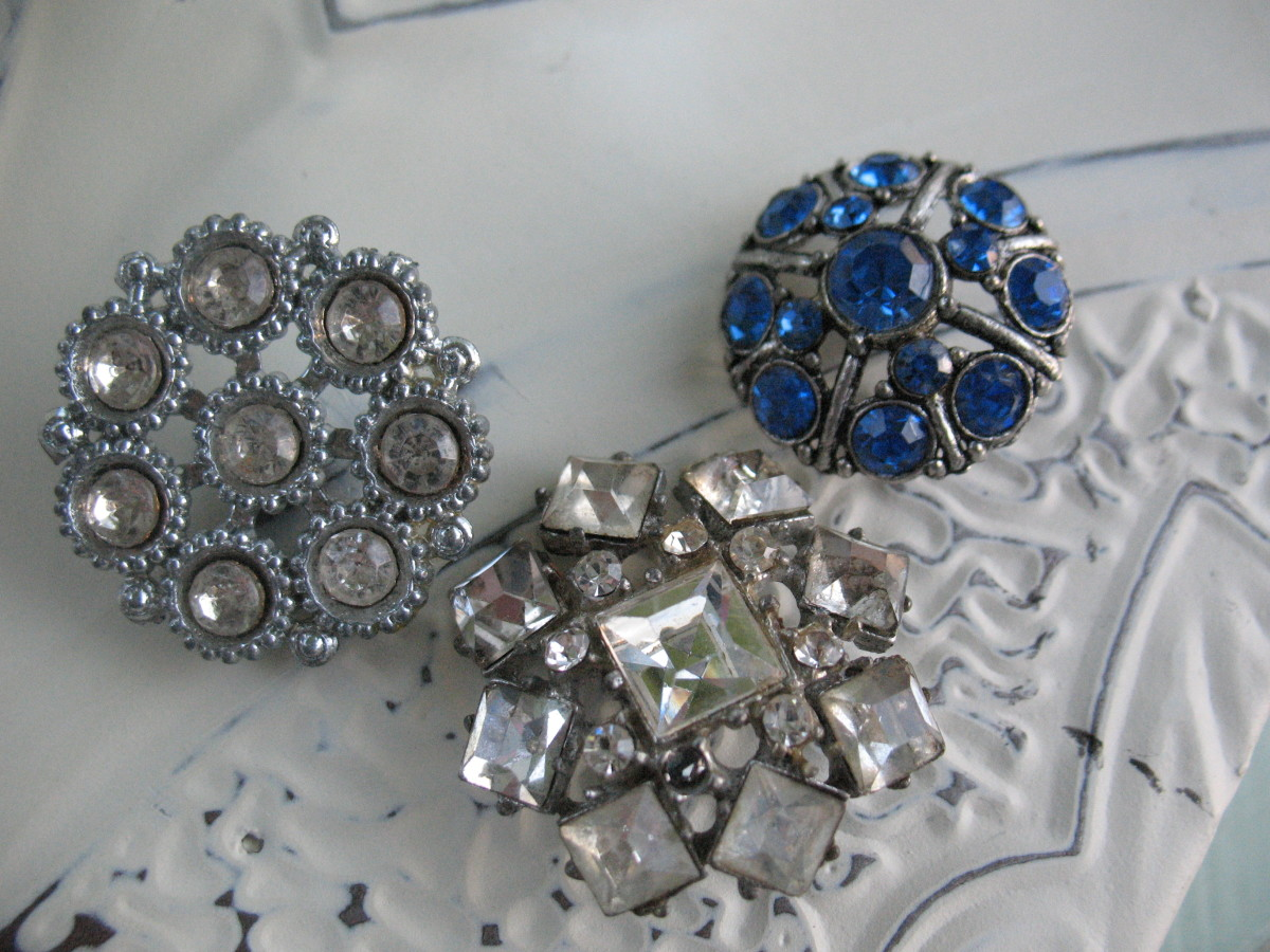 EBay is the best place to find buttons of all kinds.  These rhinestone buttons were all purchased online.