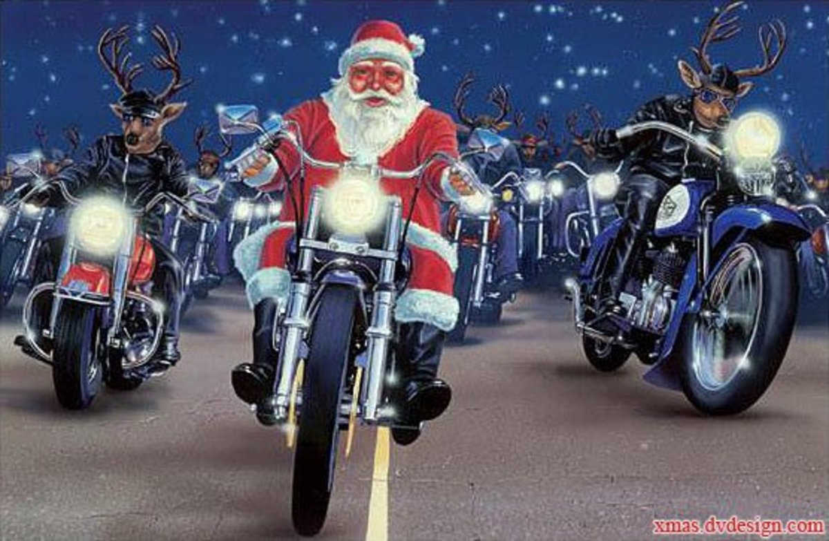 santa and reindeer riding motorcycles together