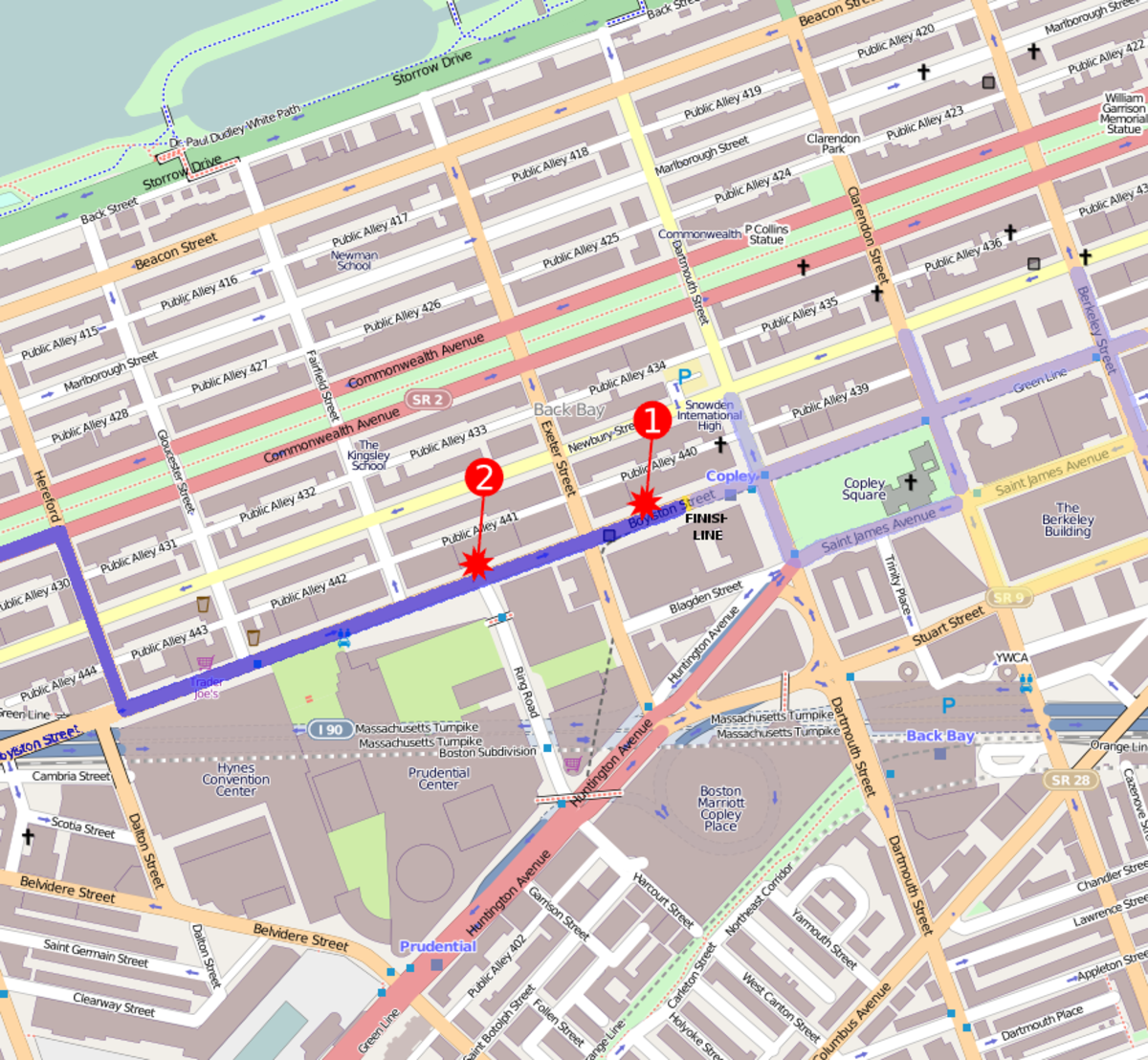 Location of the 2 bombs near the finish line.