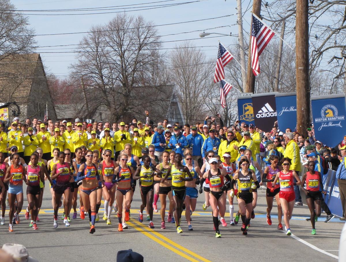 The Elite Women start at the Boston Marathon.