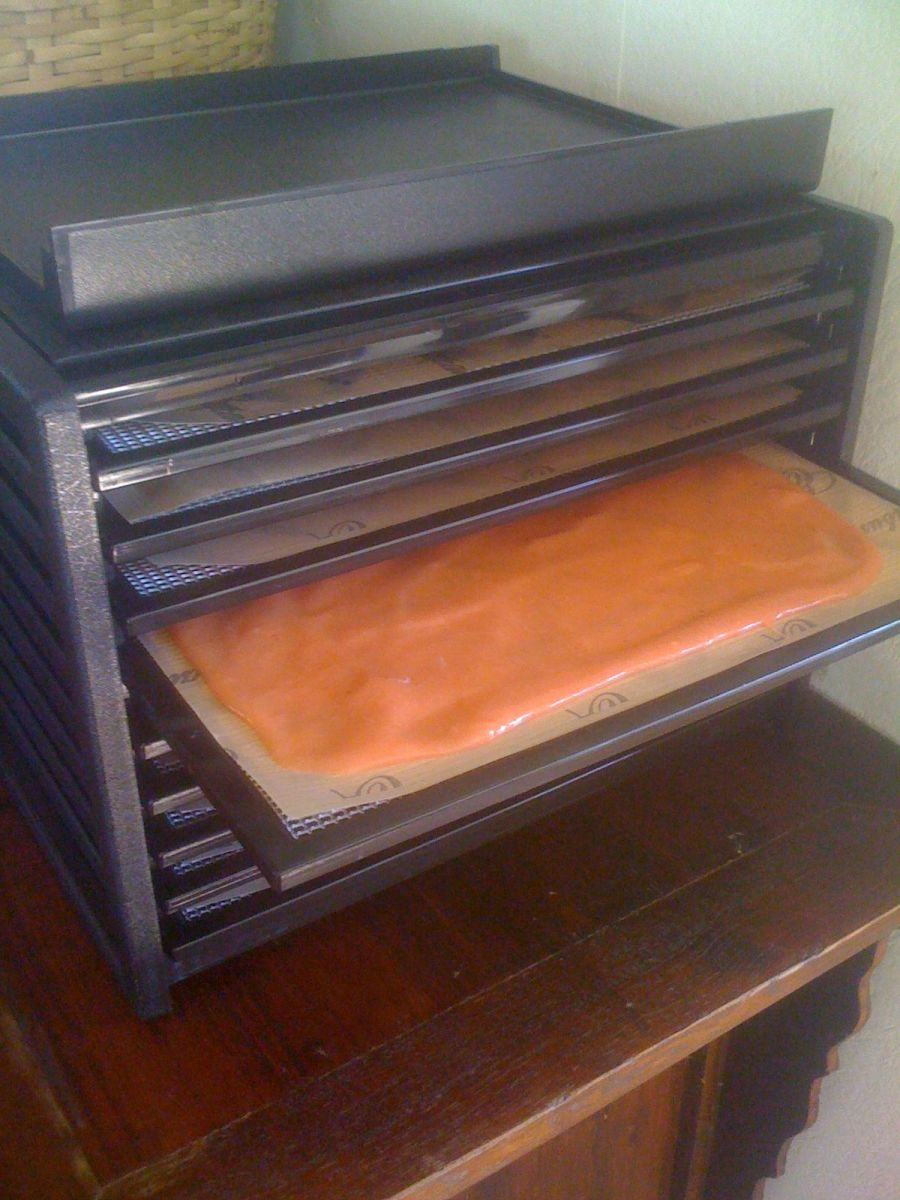 The sheets filled with fruit mixture. My 9 tray machine is just the right size for a large batch like this.