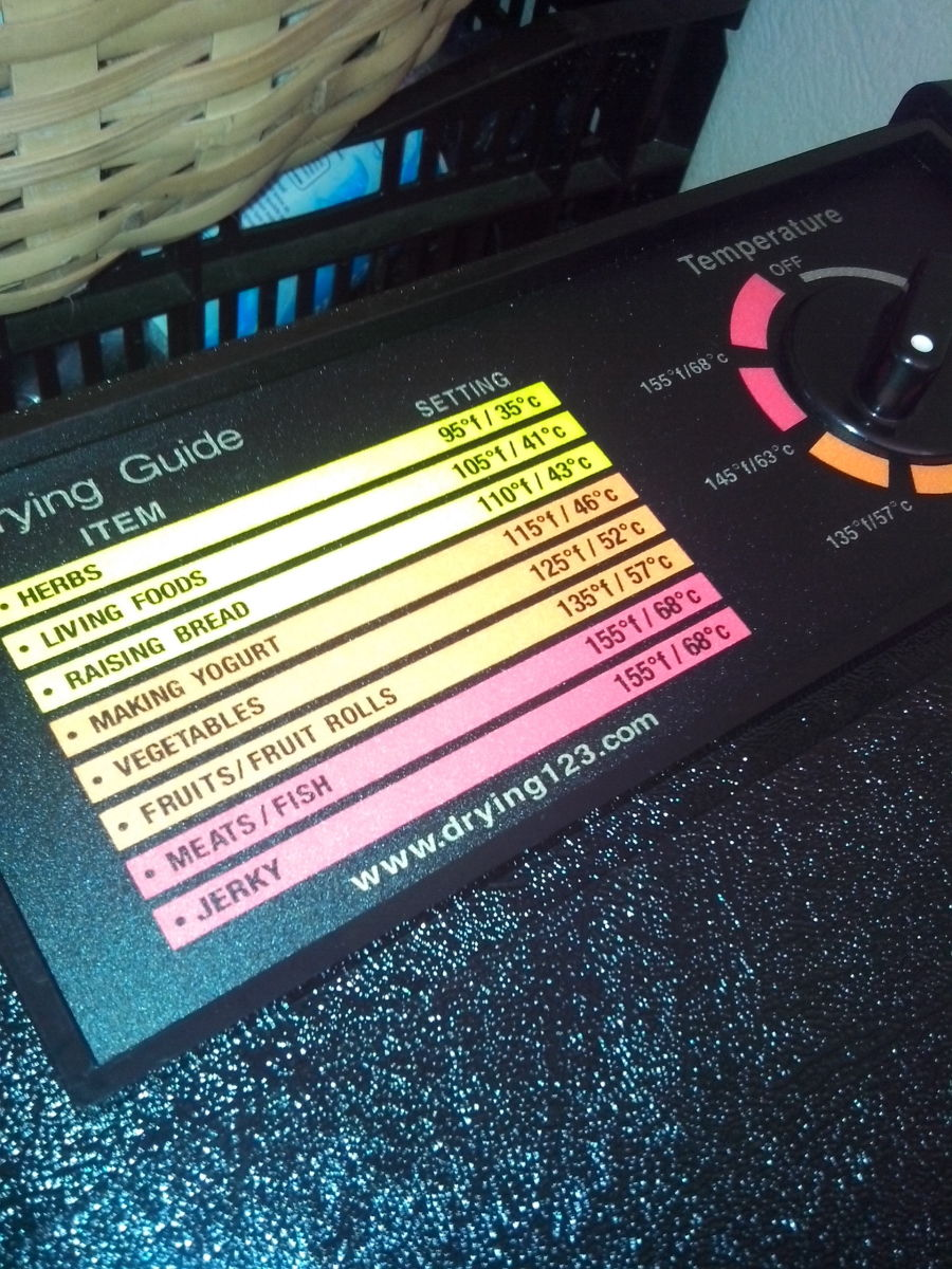 My Excalibur dehydrator has a handy little temperature chart which includes fruit leather.