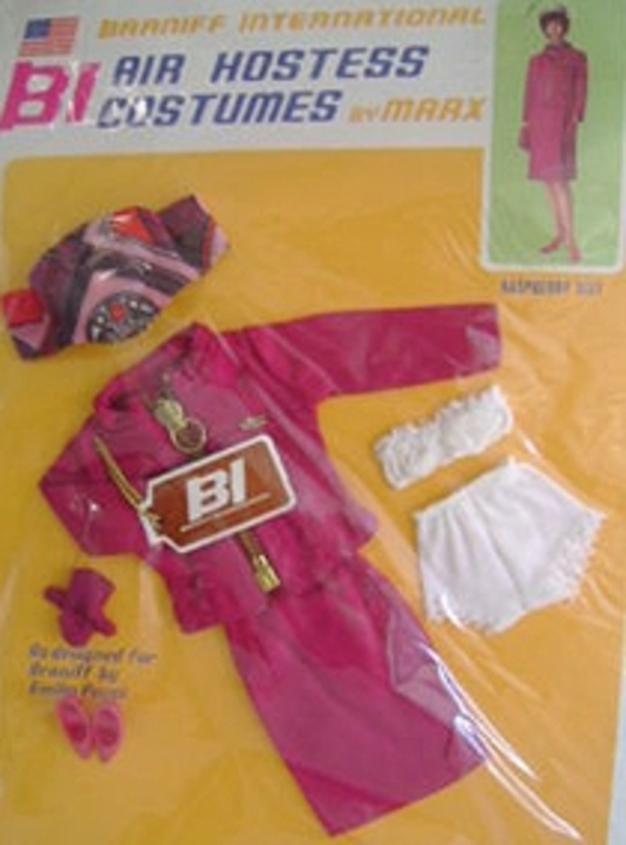 """Barbie Doll's Braniff Airlines """"Air Hostess"""" raspberry-colored suit."""
