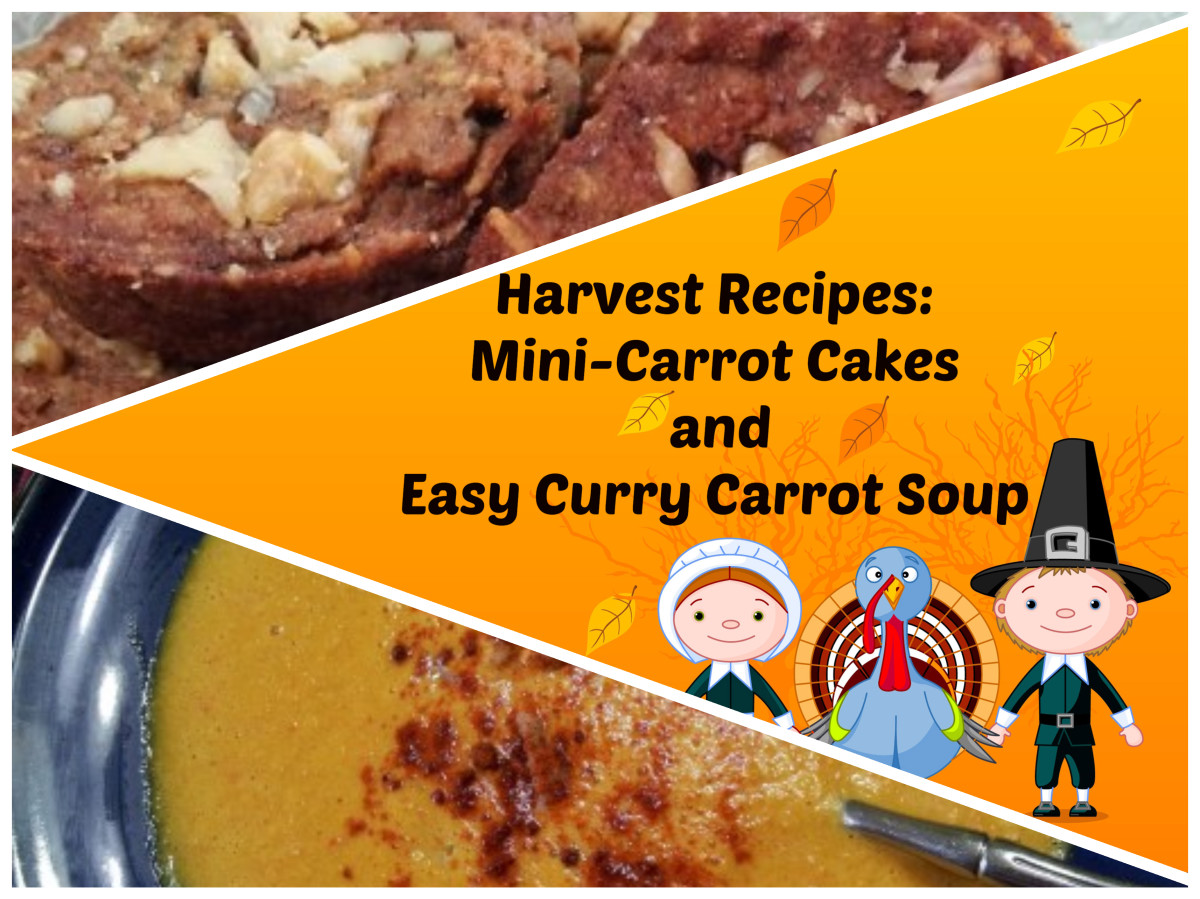 Harvest Recipes for vegan and gluten-free Mini-Carrot Cakes and Curry Carrot Soup