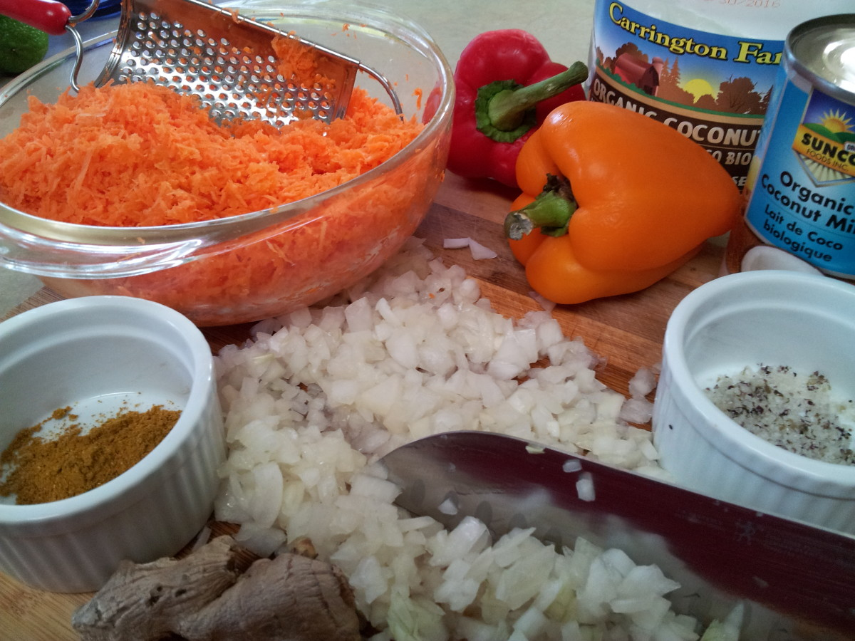 Ingredients for the Curry Carrot Soup - Eat Your Colours!
