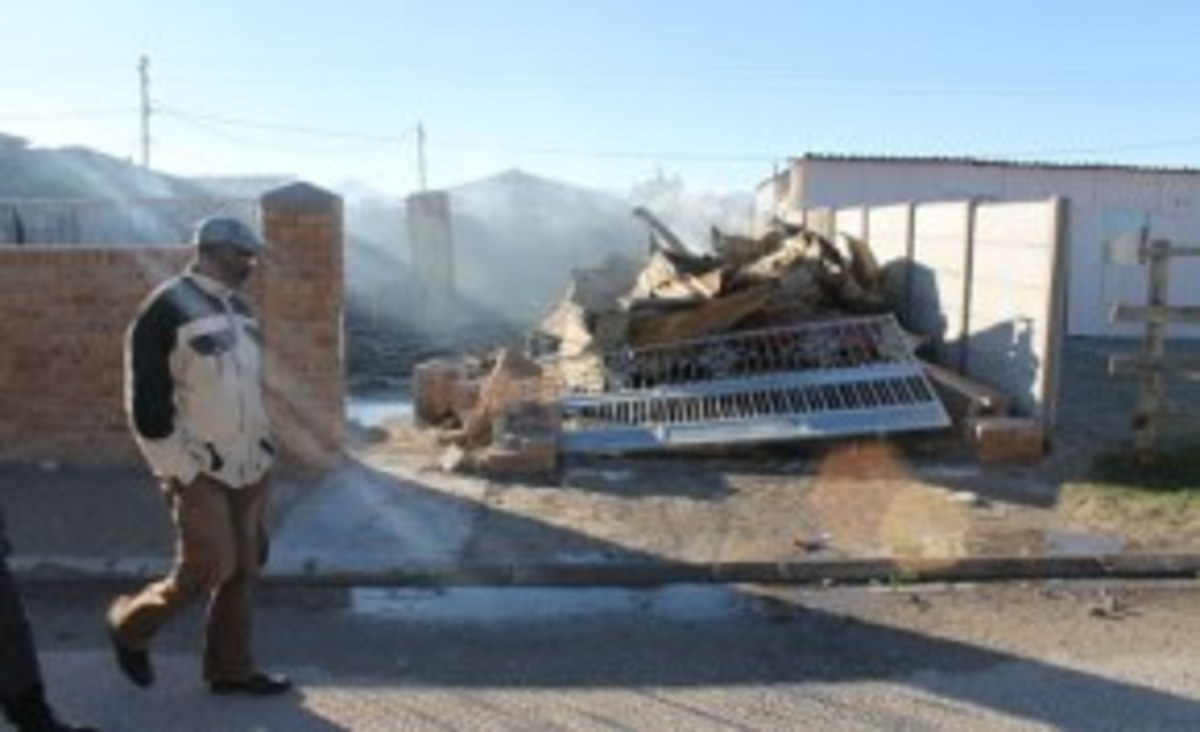 A destroyed house: The site of families fighting for their homes has touched a chord for many South Africans.