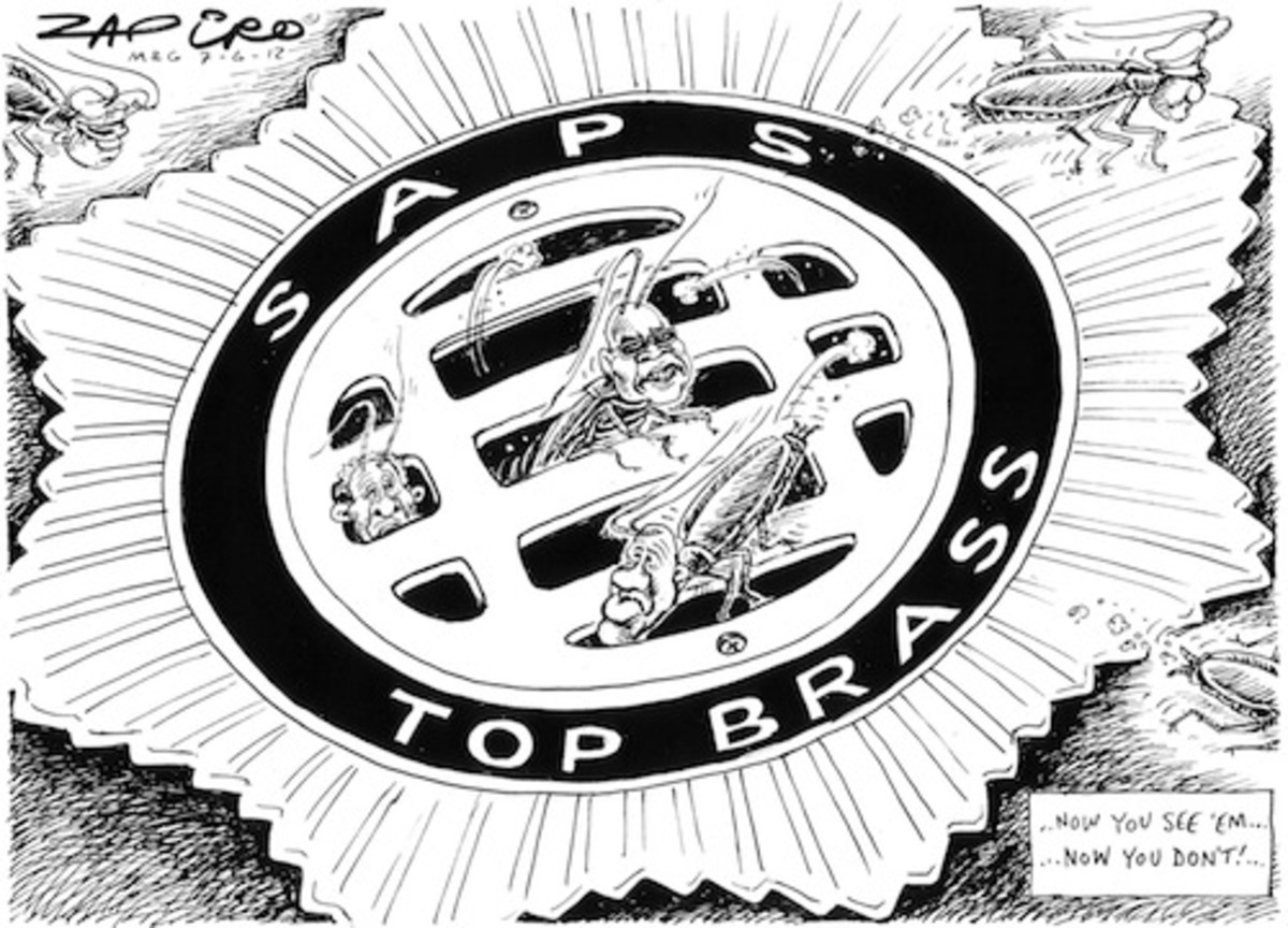SAPS going down the drain - Now you see them now you don't - People in the cartoon are Richand Mdluli / Jackie Selebi / Bheki Cele - Zapiro cartoon on top brass of South African Police Services (SAPS). Jackie Selebi in jail, Bheki Cele fired and Rich