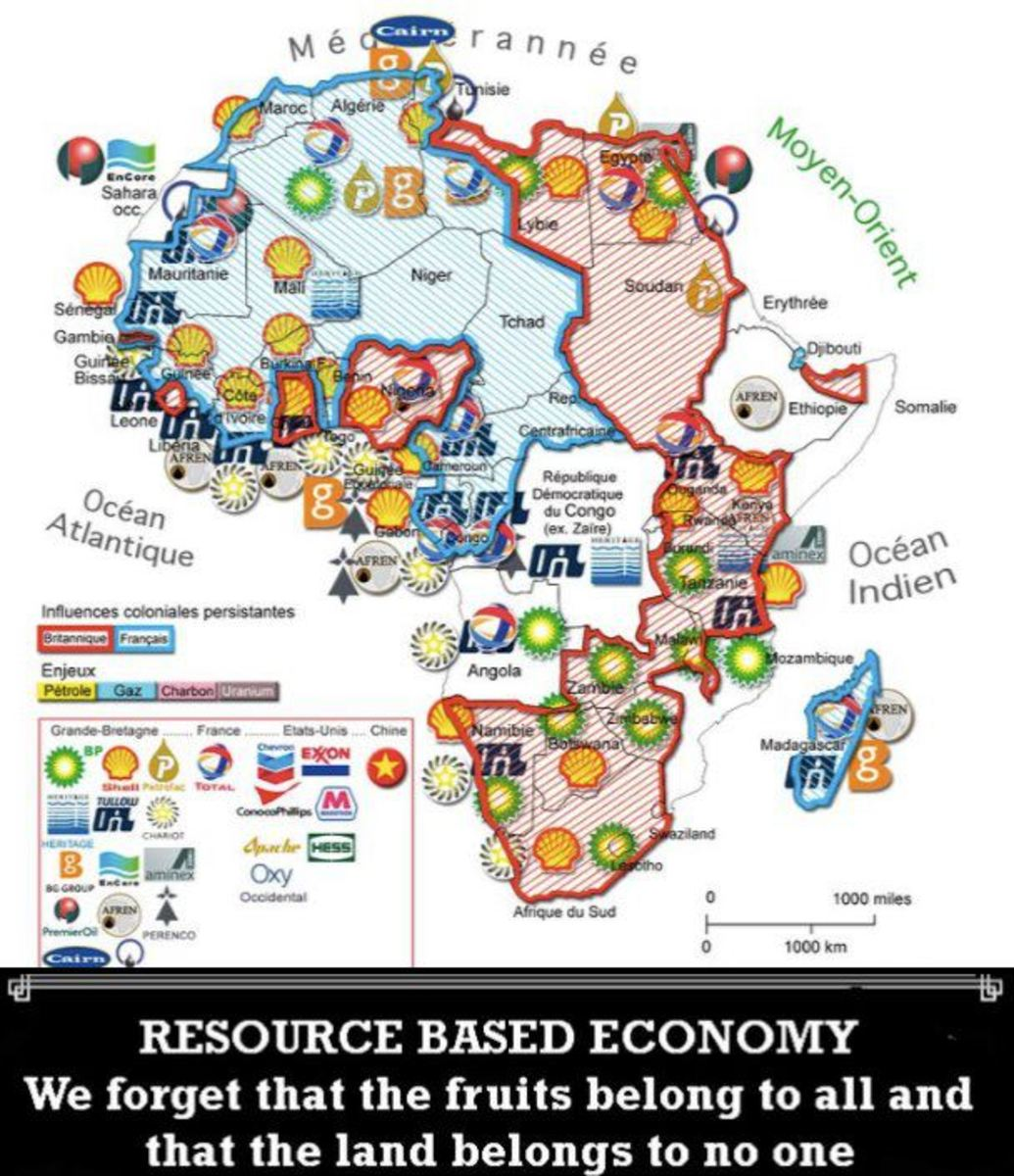 Why Don't  We Own Our Natural Resources and Buying Power in Africa? Map give us a sense of the companies that have our colonized Wealth in Africa