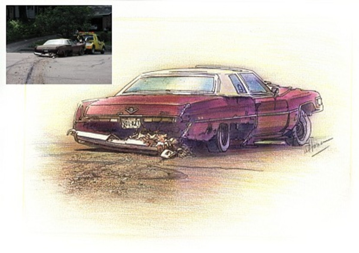 I drew a picture of my husband's car as it was being towed off into the sunset.