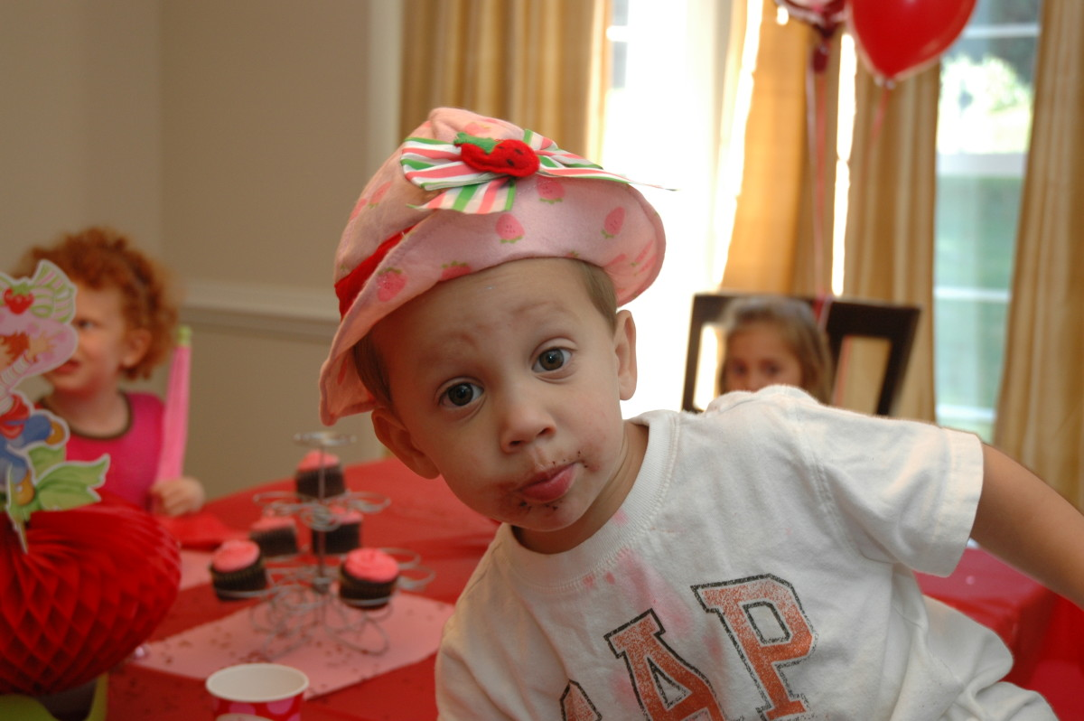 Even Nick wore a Strawberry Shortcake hat!