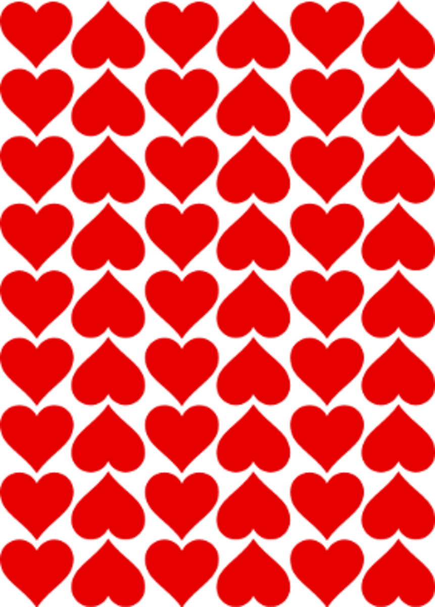 Six rows of hearts