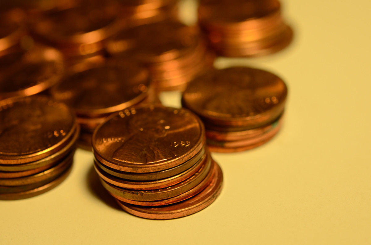 Stack your pennies in piles of 10 and skip count to see how much you have.