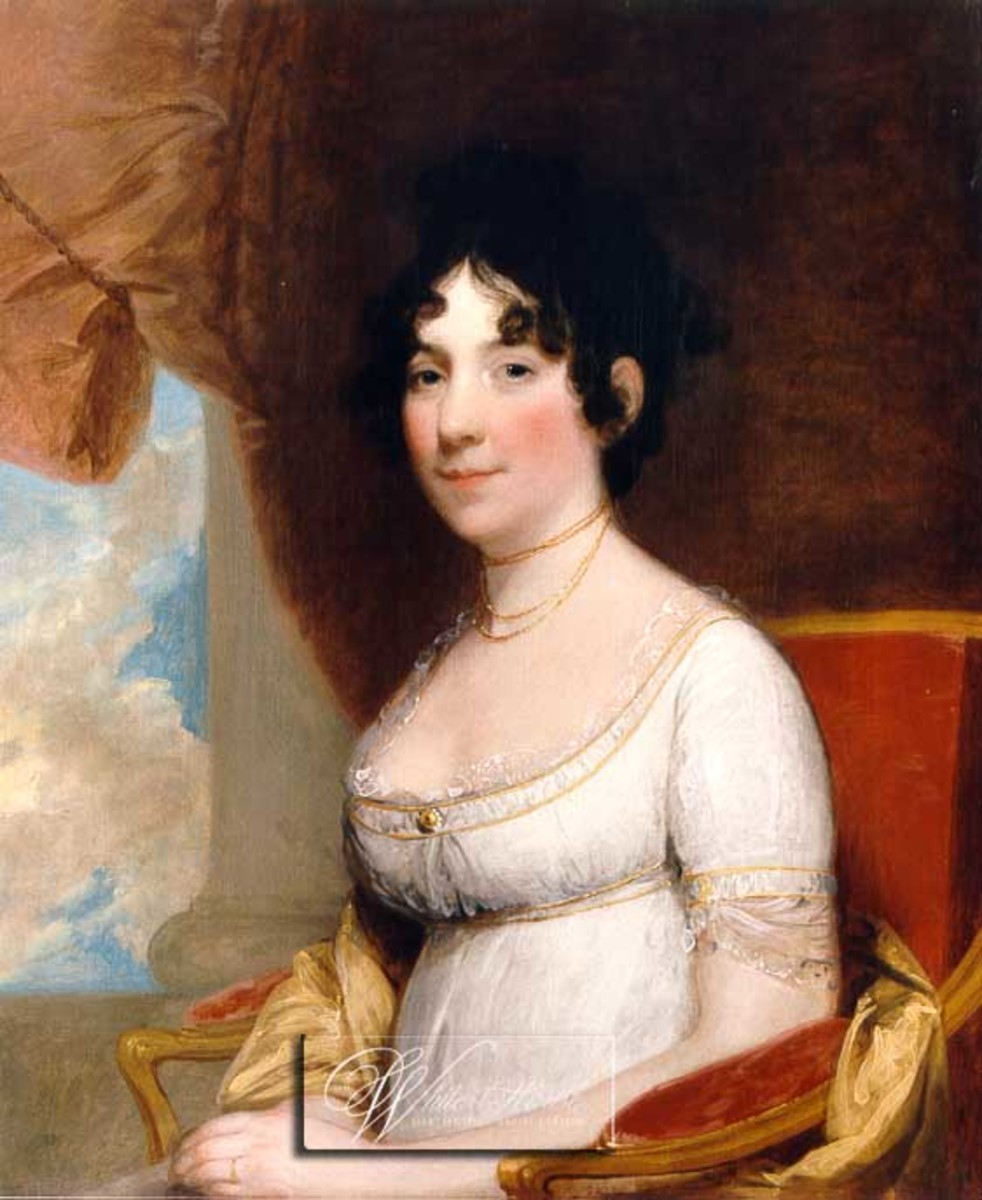 USA's Dolly Madison portrait reveals ringlet popularity in 19th Century.