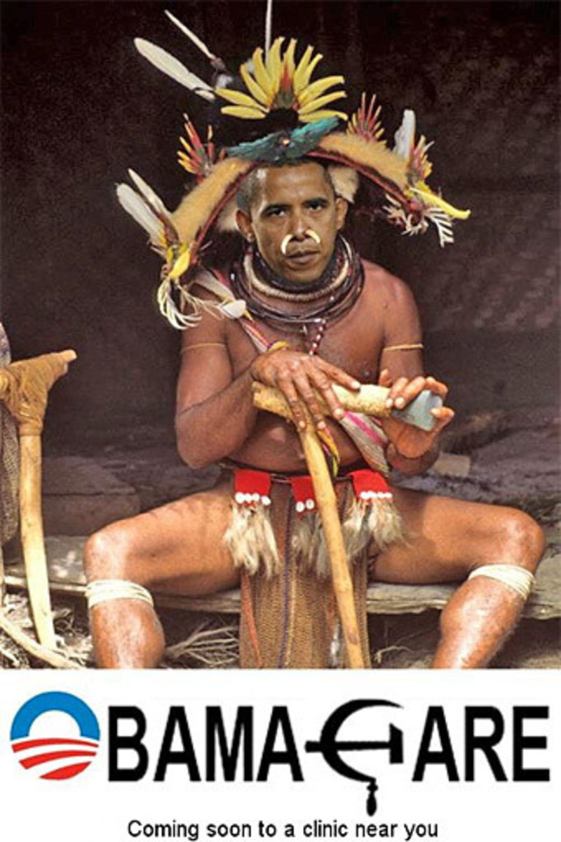 The racist depiction of Obama as a feathered medicine of tribesman with horns sticking out of his nose and father and all over him with primitive tools to top it off