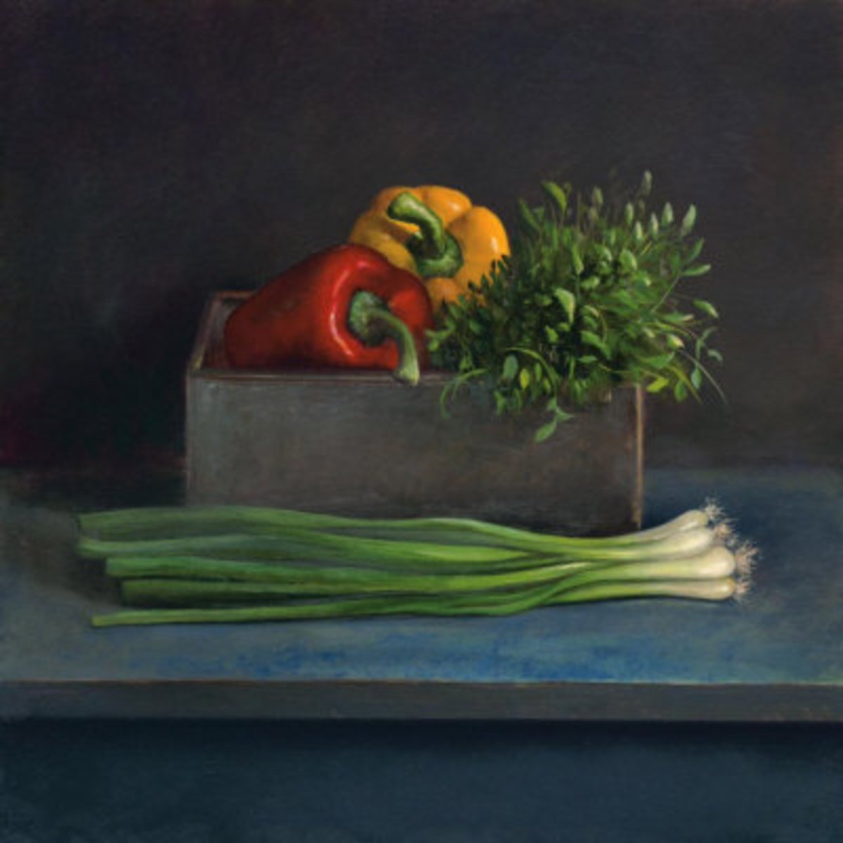 Buy this beautiful kitchen still life at Allposters. It will decorate your kitchen with its beautiful colors of just picked peppers, scallions, and fresh herbs. All favorites of the Magyars.